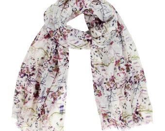 Magical Woodland Wool Scarf. Evening Shawl. Shoulder Wrap. Pretty Scarf. Unique Gift Ideas For Her