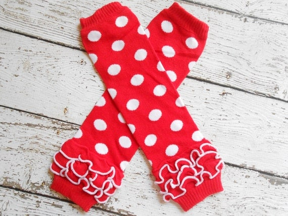 Red/White Dots Leg Warmers with Ruffles, Leg Warmer, Girl Leggins, Wholesale Leg Warmers, One Size Leg Warmers