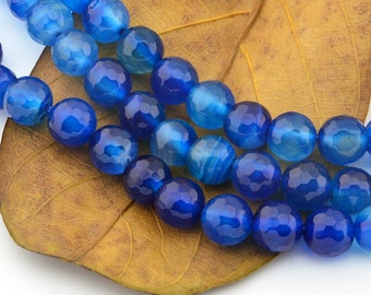 15INCH Deep Blue Agate Gemstone Loose Beads 8mm  Faceted Round