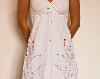 Embroidered White Dress - Handmade