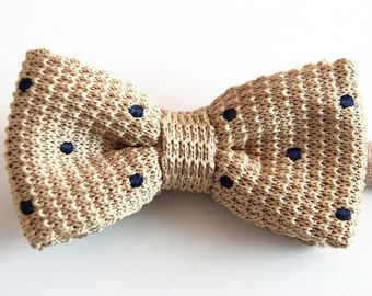 Mens Knitted Bow Tie.Beige Bowtie with Black Dots,.Bowtie for Wedding,Party.