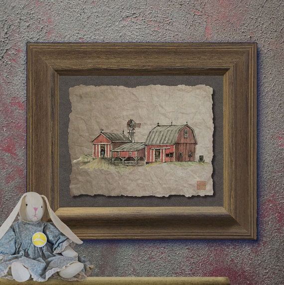 Nostalgic Windmill Red Amish Barn Art Whimsical Yesteryear
