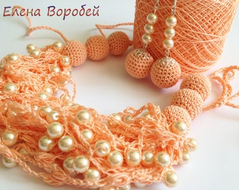 Mother day gift set/ Peach crochet necklace/ Peach crochet earrings/ Rustic necklace/ Beaded necklace Air necklace/ Crochet wedding necklace