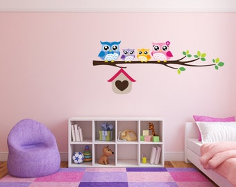 Owl Wall Decal Cute Full Colour Owls on a Branch Nursery Baby Room Wall Sticker Kids