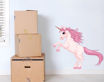 Pink Unicorn Wall Decal Full Colour Sticker Girls Wall Bedroom Playroom  Nursery Wall Sticker
