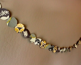 Handmade 2-Ply Confetti Fabric Garland in Grays, Yellows, Creams // READY TO SHIP