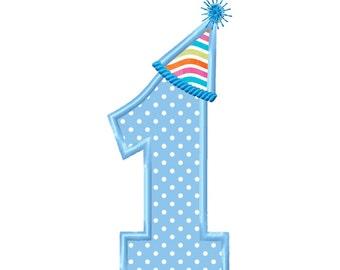 Applique Machine Embroidery DESIGN NO. 98.....Birthday Hat No. 1