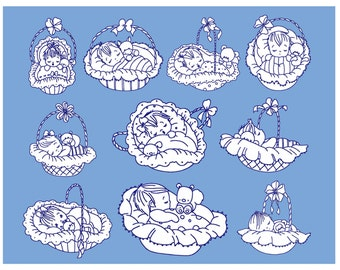 Set 10 Lullabye Babies  Redwork Machine Embroidery DESIGN NO. 75
