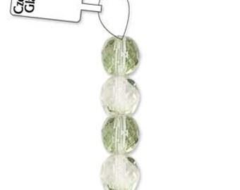 Czech Glass 8mm Facet Round Strand - 19 Beads - Crystal Mint