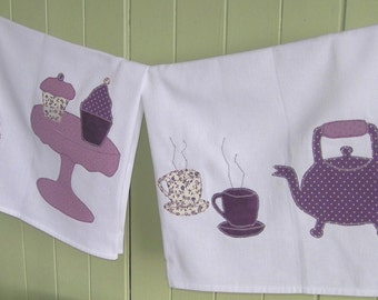 PDF Digital Sewing Pattern (to be downloaded) for Applique Tea Towels with Templates