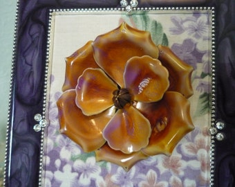 Stunning Vintage Purple Flower Brooch - Wearable Framed Art