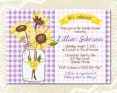 Sunflower Mason Jar Bridal Shower Invitation - Purple Gingham Plaid - Wedding Shower Invite - Summer Picnic - 1272 PRINTABLE