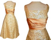 Vintage 1950's Taupe Peach Satin Rhinestone Party Dress | 50's Gold Brocade | RHINESTONE Ruched Sashes| Structured Bombshell Wedding Dress