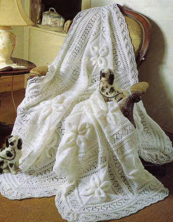 Baby Knitting Pattern PDF Shawl and Cot Blanket Heirloom