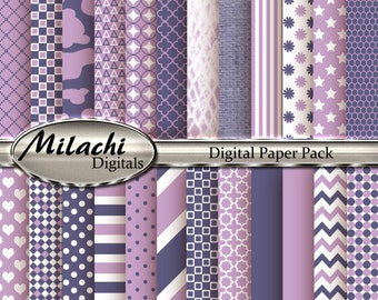 Lilac and Grape Digital Paper Pack - Commercial Use - Instant Download - M87