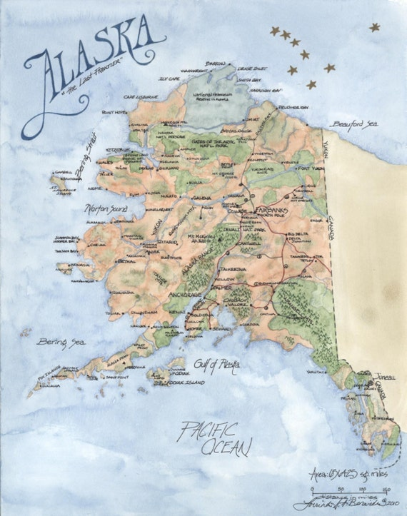 State Of Alaska Map Watercolor Colored Pencil Art