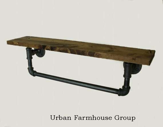 30 Industrial Towel Bar With Walnut Stained Shelf Hand