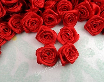 100pcs Red Satin Ribbon Rose Handmade Fabric Flower Applique Scrapbooking Craft 15mm