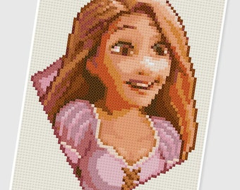 PDF Cross Stitch pattern - 0283.Rapunzel ( Tangled ) - INSTANT DOWNLOAD