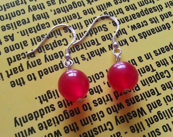 Sterling Silver and Red Quartz Earrings