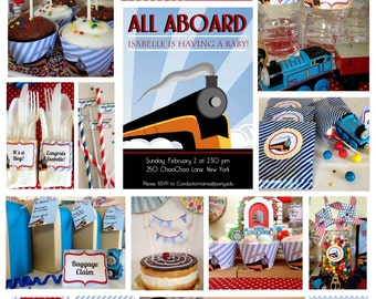Train Baby Shower Printable Package & Shower Invitation, INSTANT DOWNLOAD train invitation, Choo choo train baby shower for boys