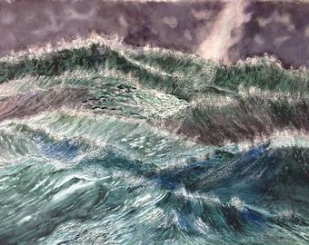 "TURBULENT OCEAN Original Watercolor, 22"" X 30"""