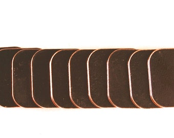 Stamping Blanks Copper Square with rounded corners 20 gauge Deburred -  De-Bured