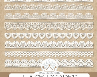"Lace Border Clip Art: ""LACE BORDER"" with digital lace border clipart, white lace border, scrapbook borders for scrapbooking, invitations"