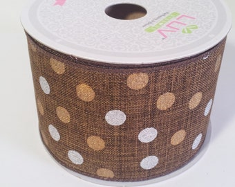 "2 1/2"" Canvas Metallic Dots Ribbon - Brown Colored - 10 Yards"