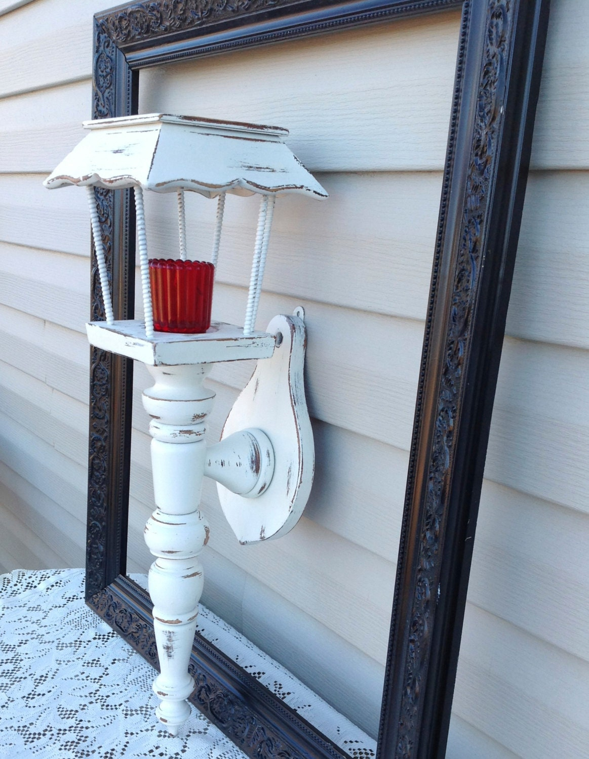 Large Vintage Wall Candle Holder Lantern by BlueCottageCreation