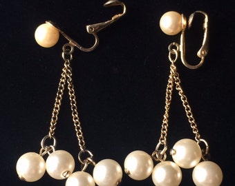 Sarah Coventry Pearl Earrings, Dangle Earrings, Pearl Earrings
