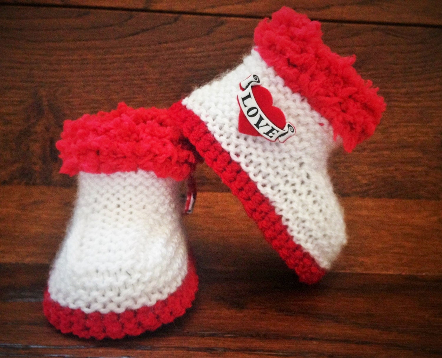 Hand Knitted Goth Baby Booties / Boots/ Shoes Love by FunkyKnitsUK