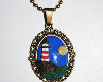 Lighthouse vintage necklace polymer clay Fimo