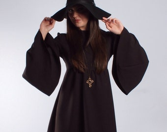 60's Inspired Black Medieval Flare sleeve Witchy dress