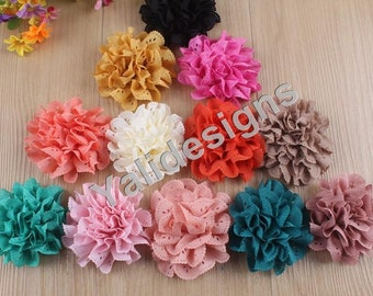 10pcs Wholesale 3.1'' inch Hollow Flower Brooch/ Flower Headdress Fabric Flower For Pin and Headband YTA07