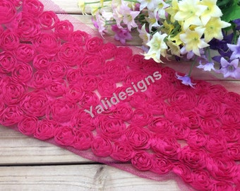 Lace Trim Fabric Rose Bridal Chiffon Rose Wedding Lace Trim Grenadine Mesh 6 Rows Trim 1 yard/5 Yards/10 yards YTA36 U Pick.