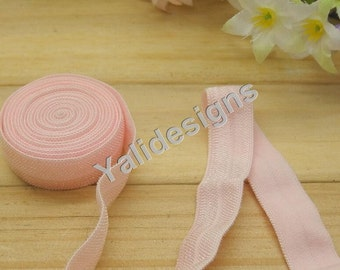10 Yards 3/8''  Light Pink Elastic Headband Baby Hairbow Soft Foldover Elastic Binding Webbing Tape Craft Sewing  - YTA13