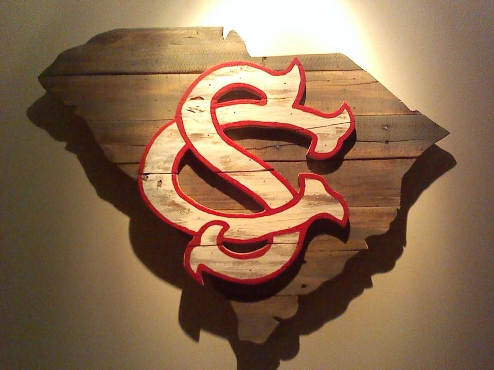 Wooden State Of South Carolina With Usc Logo