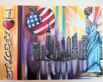 I heart new york- 50cmx70cm deep canvas painting *REDUCED*  FROM 350.00