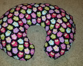 Boppy pillow cover, Nursing pillow cover,  Multicolored owls,  sleeping owls