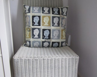 British retro stamp design cushion