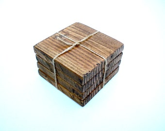 Chunky Wooden Rustic Coasters. Set of 4. Rustic Brown Wax