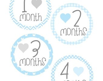 Milestone Stickers, Baby Month Stickers, Monthly Stickers, Monthly Baby Sticker, Baby Shower Gifts, Baby Month Sticker Boy, B03