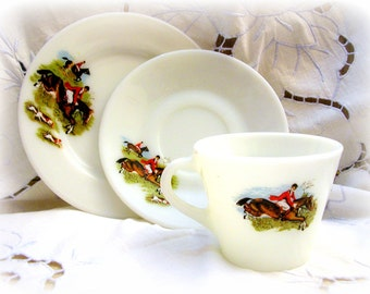 JAJ Pyrex Tally Ho Tea Cup and Plate Trio 1960's Vintage Glass Oven to Tableware