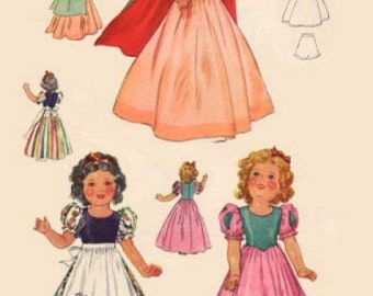 "Pattern for 1930's Shirley Temple Snow White costume for 15"" doll."