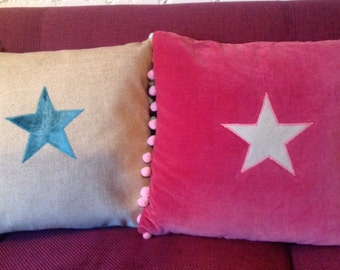 Handmade star cushion/pillow,appliqué designer fabric with pom pom trim.
