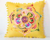 16x16 Inches Yellow Turkish Traditional Decorative Pillow, Bohemian Cushion Cover, Embroidered Pillow, Cotton Pillow, Authentic Pillow Cover