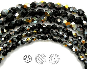 6mm (68pcs) Jet Marea Half coated, Czech Fire Polished Round Faceted Glass Beads, 16 inch strand
