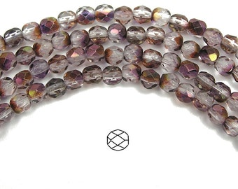 6mm (68pcs) Crystal Red Vega Luster, Czech Fire Polished Round Faceted Glass Beads, 16 inch strand
