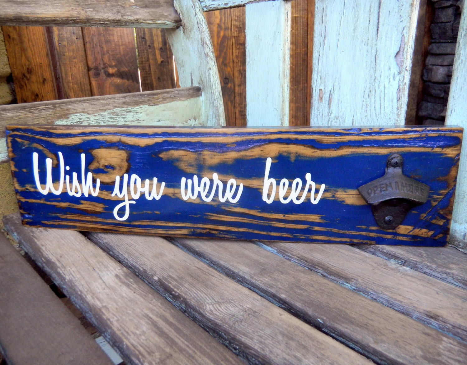 Rustic Pallet Wood Sign With Bottle Opener For Beer Lover Man